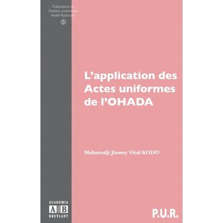 L'application des actes uniformes de l'OHADA Recto