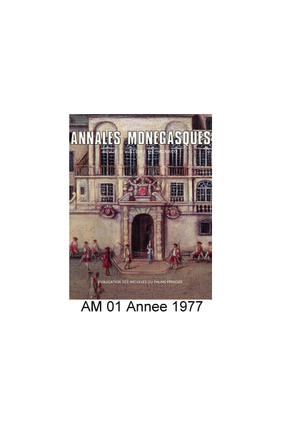 Annales Monégasques - N° 1 - 1977