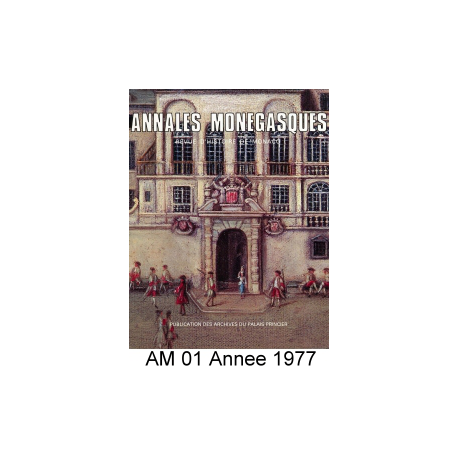 Annales Monégasques - N° 1 - 1977 Recto