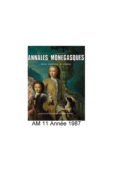 Annales Monégasques - N° 11 - 1987