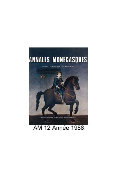 Annales Monégasques - N° 12 - 1988