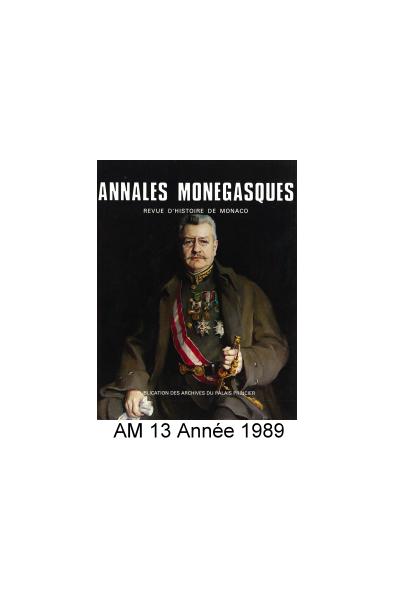 Annales Monégasques - N° 13 - 1989