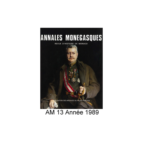 Annales Monégasques - N° 13 - 1989 Recto