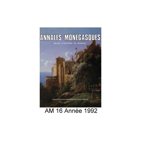 Annales Monégasques - N° 16 - 1992