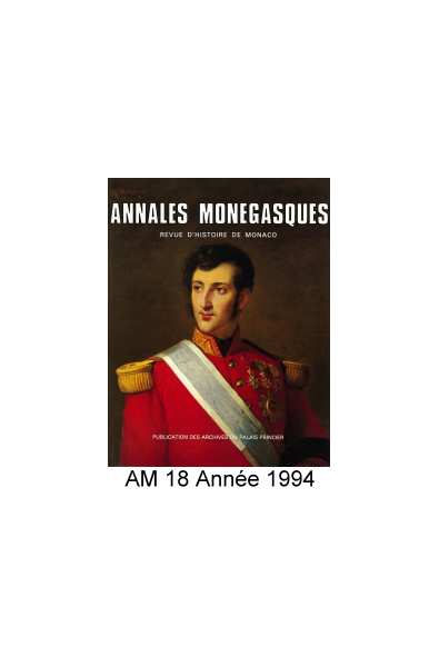 Annales Monégasques - N° 18 - 1994