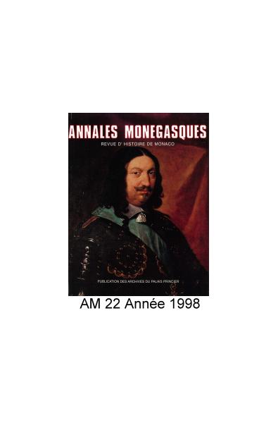 Annales Monégasques - N° 22 - 1998