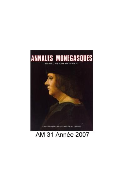 Annales Monégasques - N° 31 - 2007