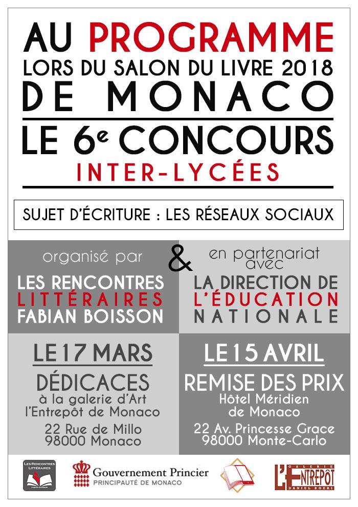 Flyer du 6e concours inter-lycées organisé par les rencontres littéraires Fabian Boisson.