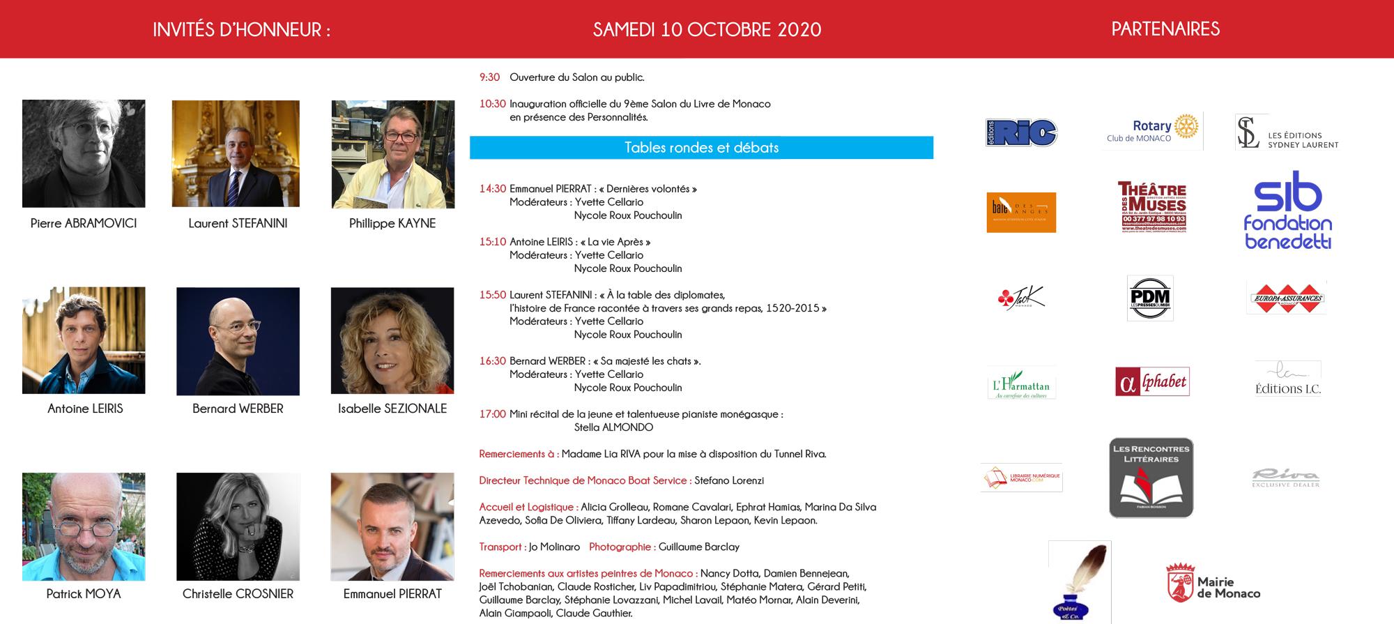Invités d'honneur du salon du livre de Monaco 2020