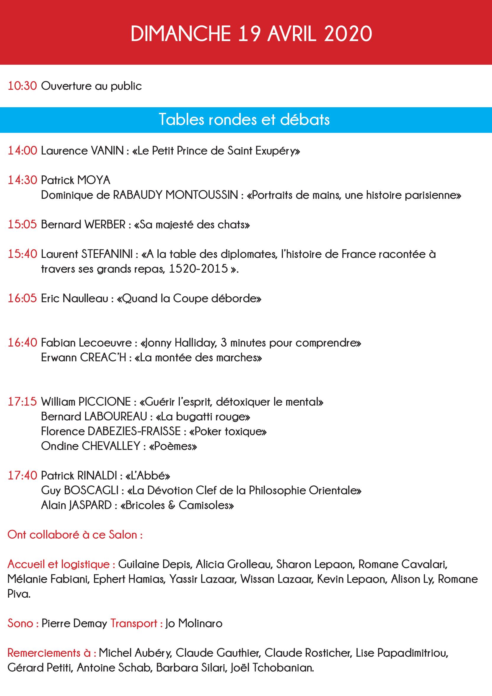 Programme du 19 avril du salon du livre de Monaco.