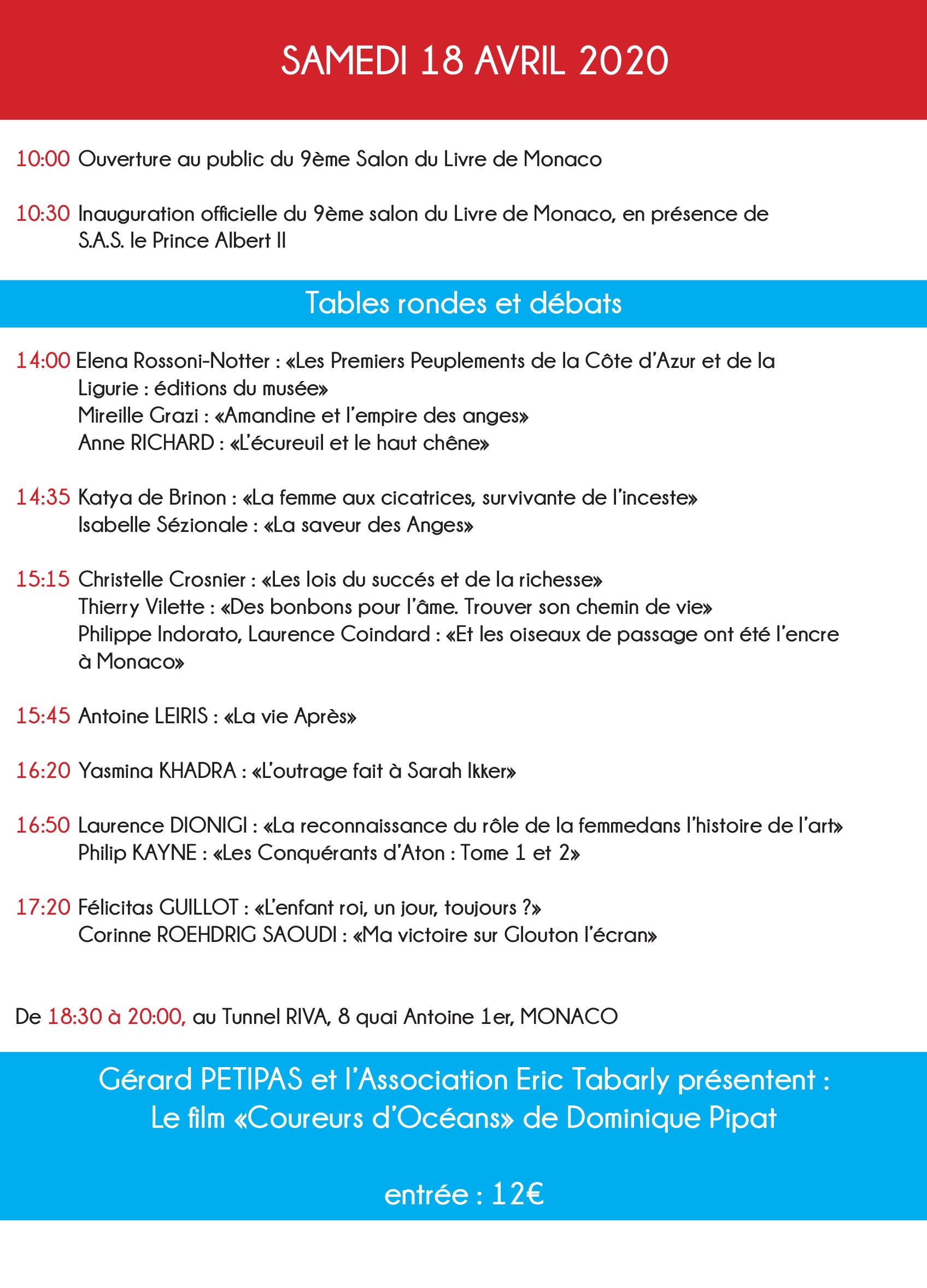 Programme du salon du livre de Monaco.